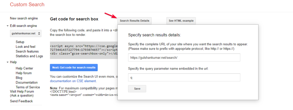 configure search result page