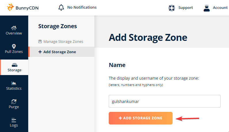 Adding a new Storage zone