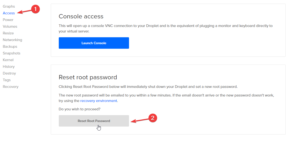 access reset root password 1