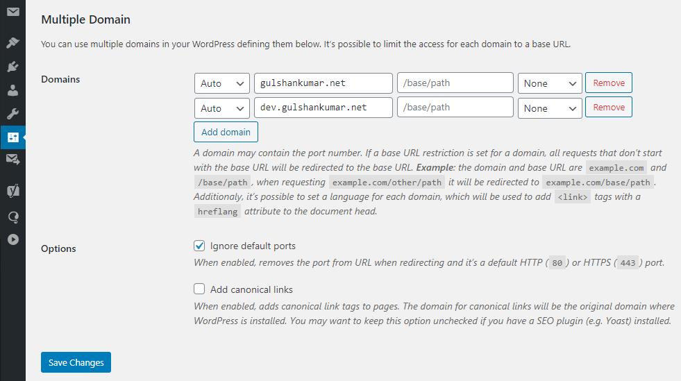 add multiple domain in WordPress