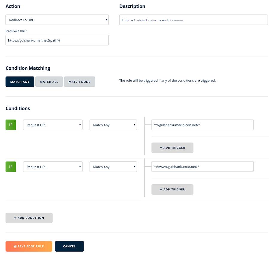 custom hostname and non www