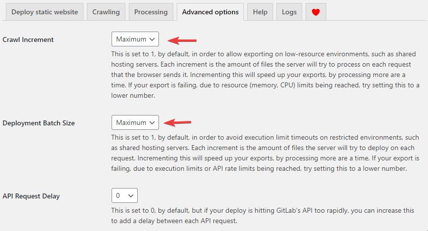 wp2static advanced option