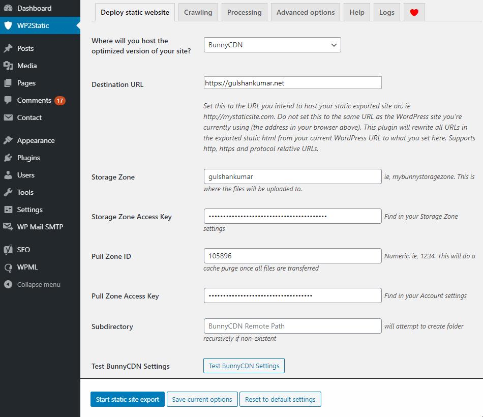 wp2static settings