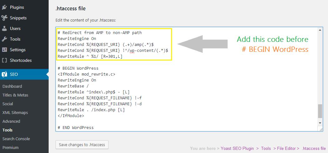yoast tools file editor htaccess
