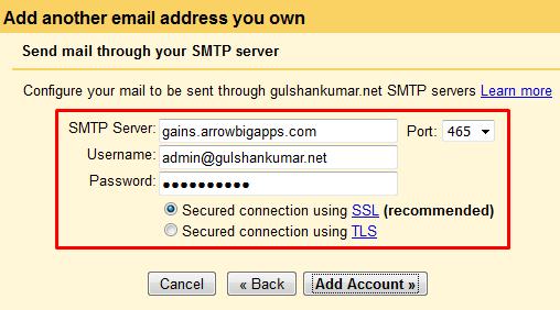 gmail smtp config