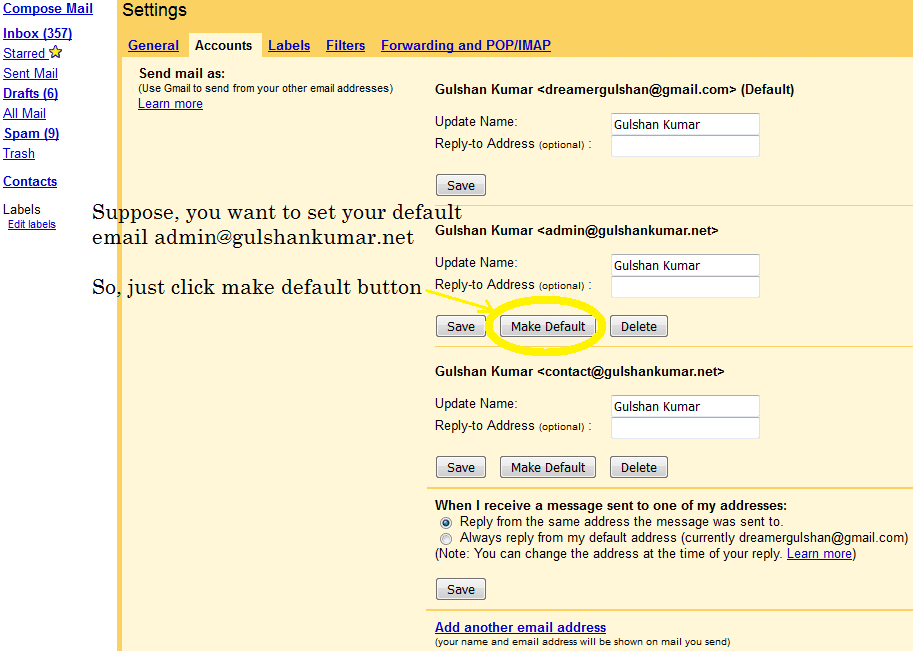 set default custom email address in gmail