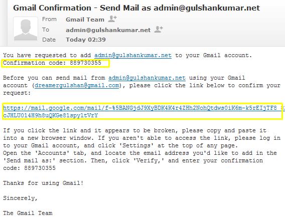 verify custom domain to gmail integration