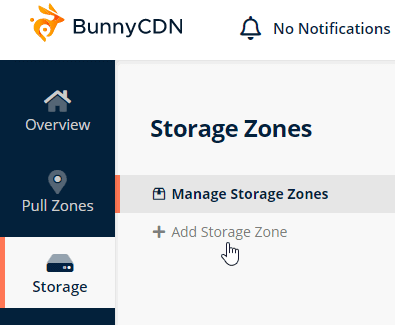 add bunnycdn storage zone