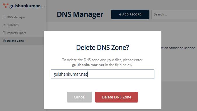 deleting zones