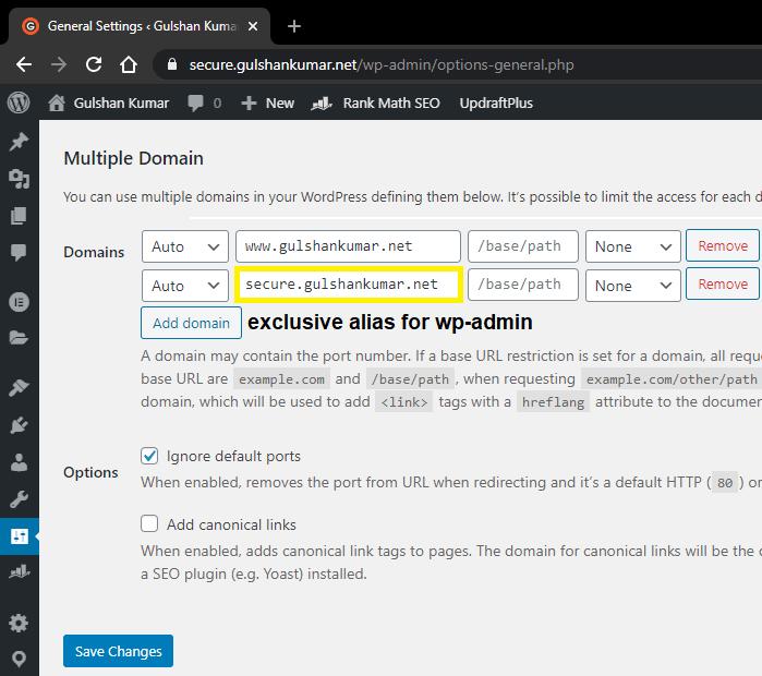 wp admin address